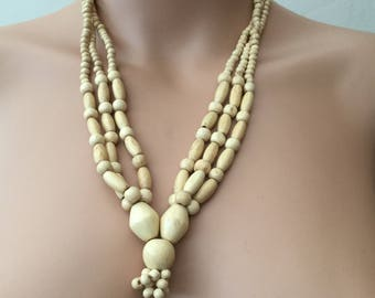 Three Strands Cream Wooden Statement Necklace, Beaded Necklace