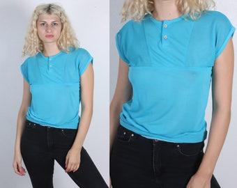 80s Mesh Top // Vintage Blue Cap Sleeve Blouse Short Sleeve Womens - Small