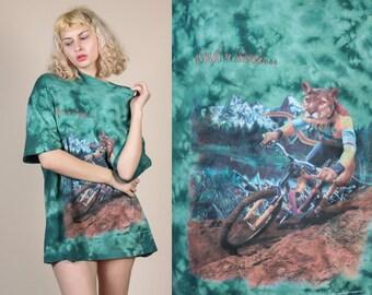 90s Crush'n Mud Dirtbiking Shirt - Mens XXL // Vintage Green Tie Die Graphic Tee