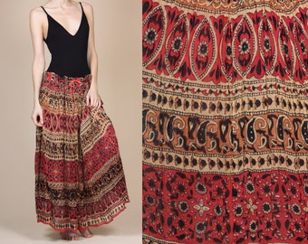 Vintage Indian Broomstick Skirt - One Size // 90s Boho Hippie Sheer Gypsy Maxi Skirt 90s