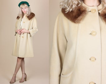60s Fur Collar Coat - Small // Vintage Mod Wool Button Up Swing Jacket