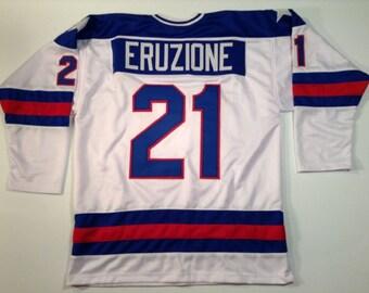 Mike Eruzione 1980 Miracle On Ice USA Hockey White UNSIGNED CUSTOM Jersey
