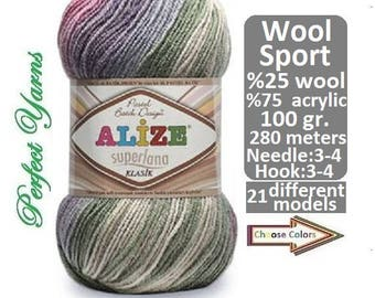 Alize Superlana Klasik Batik, knitting yarn, wool yarn, Acrylic yarn, Soft Yarn, Batik Yarn, multicolor yarn, crochet yarn, winter yarn