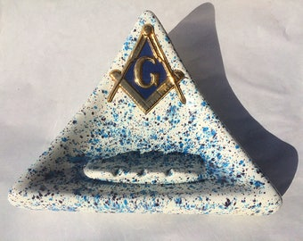 vintage Freemason Masonic ceramic triangular ashtray