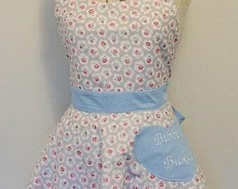 Personalised vintage inspired ladies apron - dusty floral