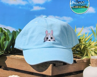 Cute Bunny hat Embroidered Baseball Hat, Bunny Hat, Animal Hat, Choose Your Own Color Hat, Customized Hat, Low Profile Hat, Dad Hat