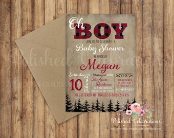 Oh Boy / Baby Shower Invitation / Lumberjack / Woodland / Woodsman / Digital Invite / Diaper Party / Camping / Buffalo Plaid / Printable