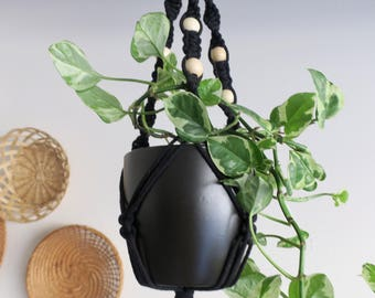 CHARITY DONATION Classic Black Macramé Plant Hanger with Wooden Beads