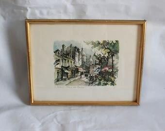 Vintage framed print street scene Paris Sacré Coeur artists street 1950s impressionist