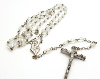 Vintage Thin Rosary Clear Faceted Glass Beads Virgin Mary Jesus Metal Crucifix Cross Antique First communion Prayer Confirmation Wedding