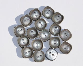 Set of 17 Vintage pearl square buttons