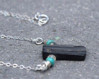 Dainty Raw Tourmaline and Turquoise Energy Necklace~ Energy Stone Necklace~Protective Stone Necklace