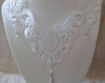 """necklace """"pretty white lace applique"""""""