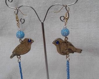 """Earrings """"bird with blue eyes"""""""