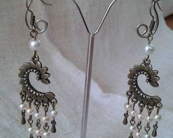 "Earrings ""bronze and small pearls"""
