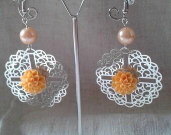 print and Flower Earrings orange