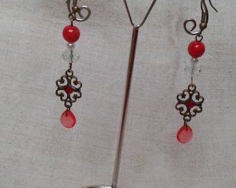 "Earrings ""bronze and Red"""