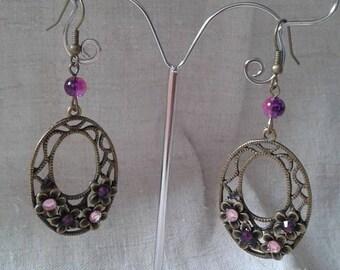 Dangle earrings pink and purple