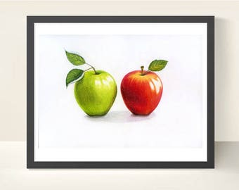 Apples Art Print Apples illustration Food art Botanical art Fruit print Kitchen decor Red apple Green apple Fruit decor Apples drawing