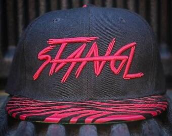 Stangl Brush Red Fuzzy Zebra Bill Snapback Hat
