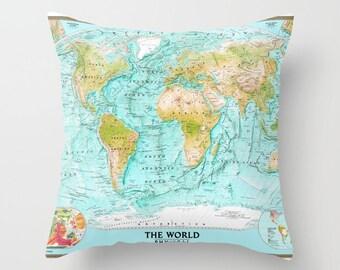 world map cushion etsy. Black Bedroom Furniture Sets. Home Design Ideas