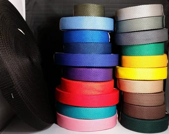 """1"""" Webbing, by-the-yard and 5 yard rolls, good weight for dog collars, purse handles, leashes, key fobs, belts, and other craft uses"""