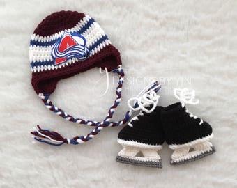 Newborn, Baby, Colorado Avalanche, Hockey Hat, Hockey Skates, Custom Made to Order