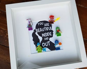 Disney//Minifigures//Inside Out//Happy//Sadness//Gift//Shadow Box Frame//Personalise//Birthday//God Child//Childrens Room/Nursery//Lego/Geek