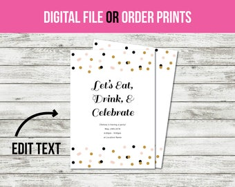 Birthday Invitation, Party Invitation, Adult Invitation, Birthday Invitation for Girls, Birthday Invitations for Women (1011) CUSTOM TEXT!