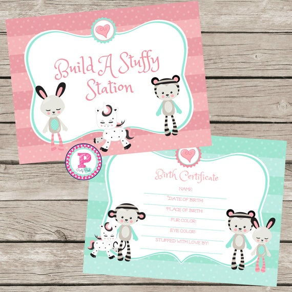 Build A Stuffed Animal Birthday Party Birth Certificate Adopt