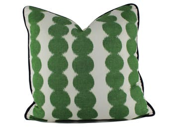 Schumacher Full Circle in Jungle / Decorative Pillow Cover / Ivory with Green Polka Dots Pillow Cover