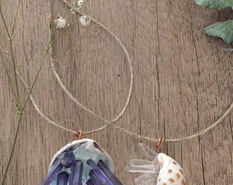 2 Crystal Seashell Necklaces. Summer, Beach, and Mermaid Vibes
