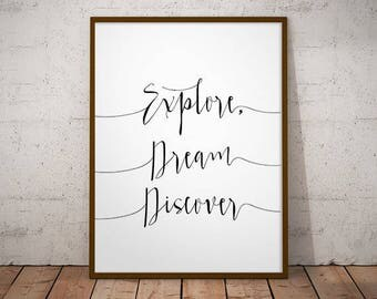Explore, dream discover -  instant download, wall decor, mark twain, gift ideas, home decor, printable wall art, dream discover