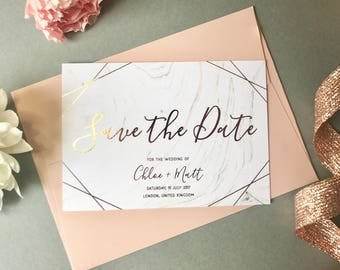 Rose Gold Marble Save the Date, Modern Calligraphy Save the Date, Wedding Announcement, Digital Foil