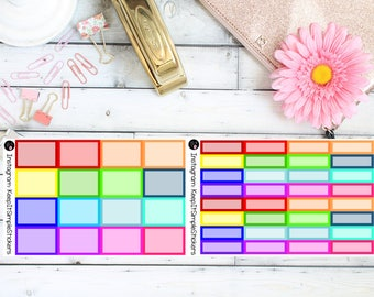 Bold and Bright Half and Quarter Boxes Planner Stickers