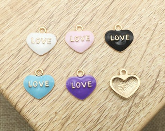 "10pcs Gold Cute ""Love"" Heart Enamel  Charms Pendant Fit Handmade Bracelet Necklace DIY Jewelry 6 Colors"