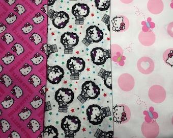 set of 3 fabric PATCHWORK cat SANRIO Fabrics