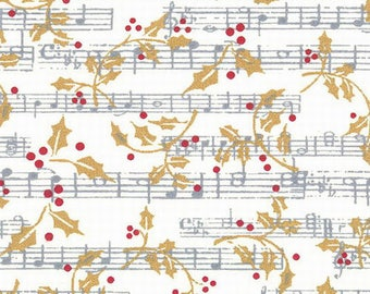 Patchwork Christmas Paris Christmas - Holly Music fabric