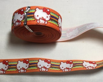 Grosgrain orange Ribbon hello kitty cat stripes orange 22 mm