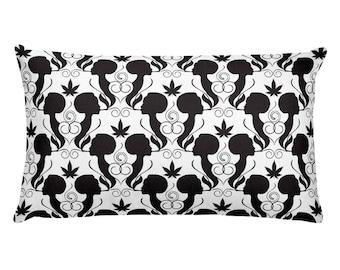 Cannabis Smoking Silhouettes Pattern Noir Nug Pot Vape Herb Dab Lady Marijuana Colorado Rectangular Pillow