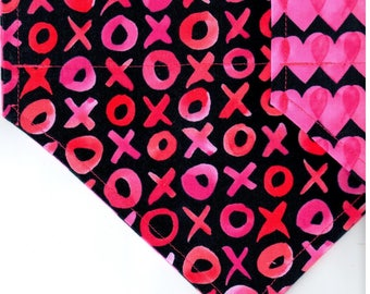 Hugs & Kisses  | Valentines Day Dog Bandana | Dog Bandana | Puppy Bandana | Pet Bandana | Over the Collar Bandana