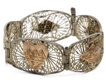 Egypt Filigree Bracelet, 800 Silver And Rose Gold, Antique 40s Jewelry, Exotic Muslim Souvenir, Middle East Egyptian Jewelry, Storyteller