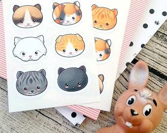 Kawaii cat stickers, Cute cat Stickers, Kawaii stickers, Kawaii kitty, Cute animal stickers, Kitten stickers, Planner decoration stickers