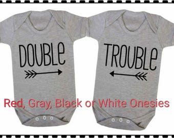 Double Trouble, Onesie Set, Twin Set, Super Cute and Would Make A Really Cute Shower Gift