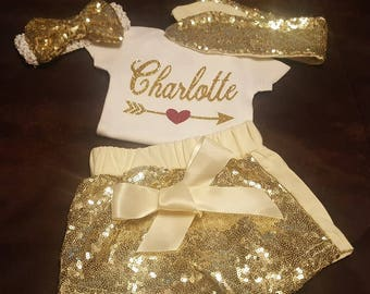 Infant, Infant Girl, Newborn, Baby Girl, Girls, Gold, Sequins, Bling, Personalized, Monogramed, 3 Piece Shorts Outfit
