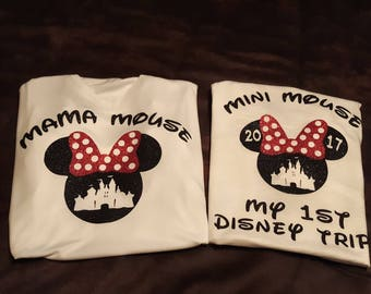 Mama and Daughter Disney Shirts, My First Disney Trip, Mama Mouse, Minnie Mouse, Mini Mouse, Disney, Disney Castle