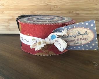 MODA Looking Back Jelly Roll by Brannock & Patek, Precut Fabric, Cotton Strips, 40 2.5x44-inch fabric strips, 304JR