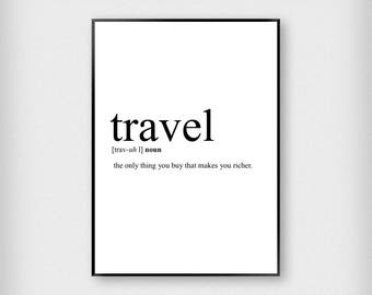 Travel Definition Print | Office | Black and White | Work - Adventure - Poster
