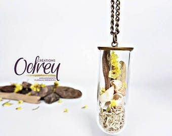 CLEARANCE, terrarium necklace, botanical, real glass flower pendant, Globe, Decoration for rear view mirror, lucky charm