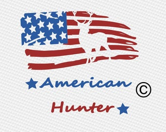 American flag hunter hunting SVG Clipart Cut Files Silhouette Cameo Svg for Cricut and Vinyl File cutting Digital cuts file DXF Png Pdf Eps